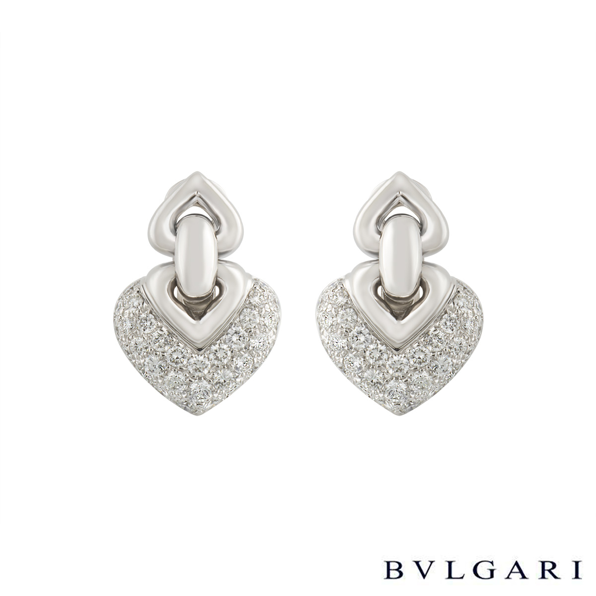 Bvlgari 18k White Gold Doppio Cuore Diamond Earrings 2.00ct